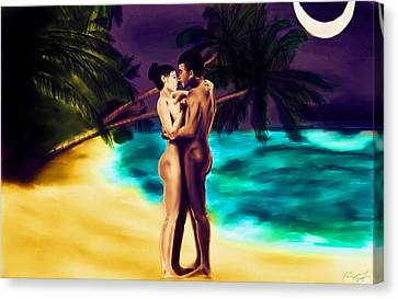 Lovers Under The Stars Canvas Print by Kenal Louis