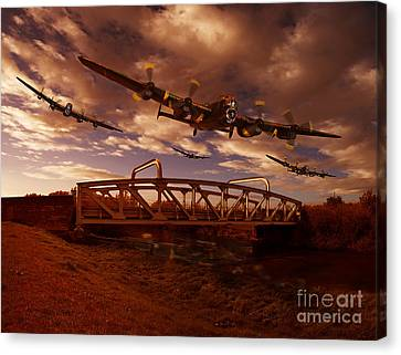 Low Flying Over Rawcliffe Bridge Canvas Print by Nigel Hatton