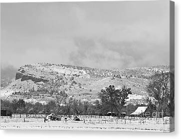 Low Winter Storm Clouds Colorado Rocky Mountain Foothills 7 Bw Canvas Print by James BO  Insogna