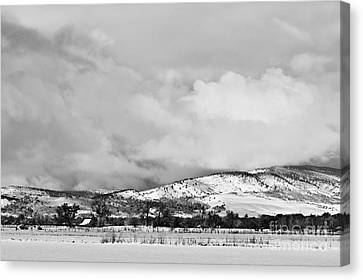 Low Winter Storm Clouds Colorado Rocky Mountain Foothills Bw Canvas Print by James BO  Insogna
