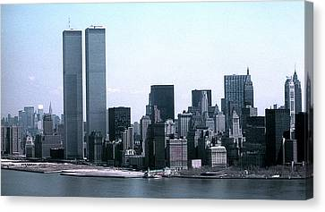 Lower Manhattan Island With Twin Towers Canvas Print by John Brink
