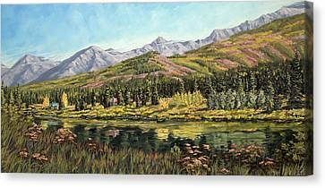Canvas Print featuring the painting Lower Summit Lake by Kurt Jacobson