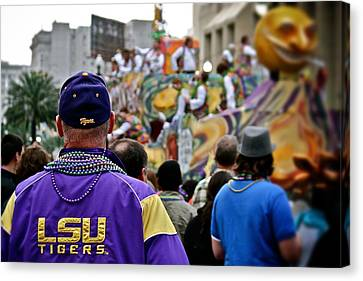 Canvas Print featuring the photograph Lsu Mardi Gras  by Jim Albritton
