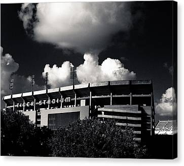 Lsu Tiger Stadium Black And White Canvas Print