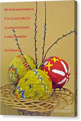 Lt Easter Greeting. Lithuanian Text 01 Canvas Print