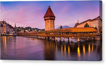 Lucerne - Chapel Bridge Pastels Canvas Print