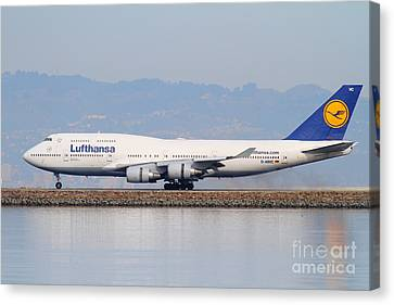 Lufthansa Jet Airplane At San Francisco International Airport Sfo . 7d12115 Canvas Print by Wingsdomain Art and Photography