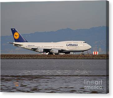Lufthansa Jet Airplane At San Francisco International Airport Sfo . 7d12353 Canvas Print by Wingsdomain Art and Photography
