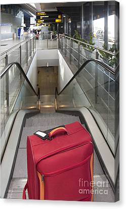 Luggage At The Top Of An Escalator Canvas Print