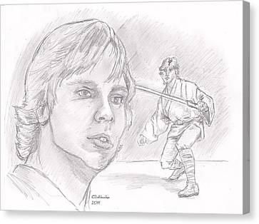 Canvas Print featuring the drawing Luke Skywalker - Farmboy by Chris  DelVecchio