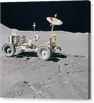 Lunar Vehicle On The Surface Of The Moon Canvas Print by Stockbyte
