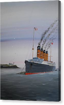 Lusitania At Roches Point Canvas Print by James McGuinness