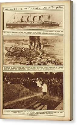 Lusitania Sinking The Greatest Of Ocean Canvas Print by Everett