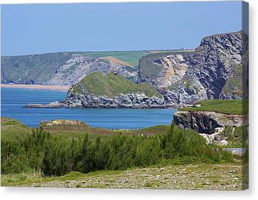 Lusty Glaze And Watergate Bay Canvas Print by Allan Baxter