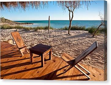Luxurious Terrace On The Beach Canvas Print by Pierre-Yves Babelon