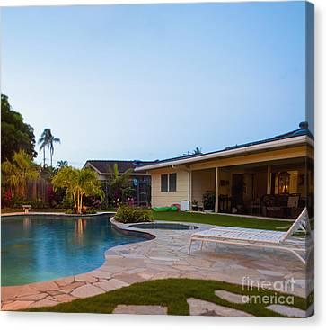 Luxury Backyard Pool And Lanai Canvas Print by Inti St. Clair