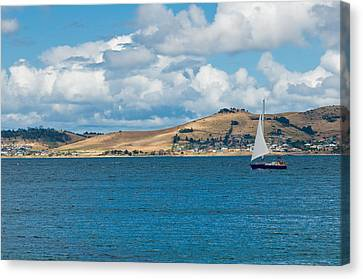 Luxury Yacht Sails In Blue Waters Along A Summer Coast Line Canvas Print by U Schade