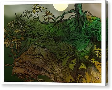 Lymphoy Night Drawing Canvas Print by Grant  Wilson