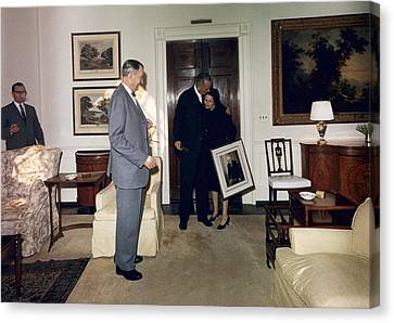 Lyndon And Lady Bird Johnson Moving Canvas Print