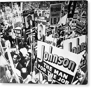 Lyndon Johnson. Delegates Supporting Us Canvas Print by Everett