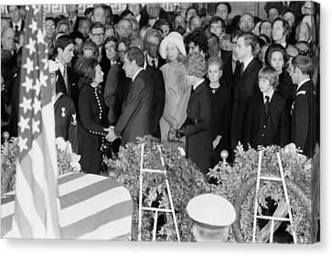 Lyndon Johnson Funeral. President Nixon Canvas Print by Everett