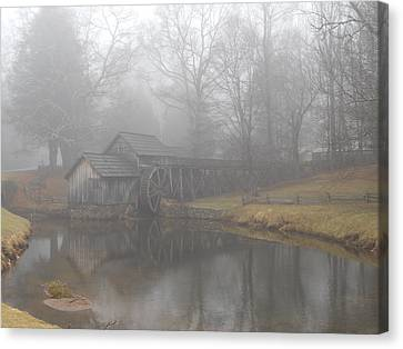 Canvas Print featuring the photograph Mabry Mill On A Foggy Day by Diannah Lynch