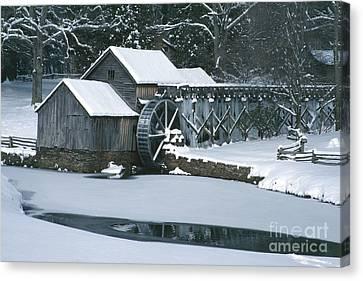 Mabry Mill Winter Canvas Print by Joe Elliott