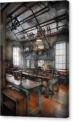 Machinist - Steampunk - The Contraption Room Canvas Print by Mike Savad