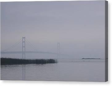 Canvas Print featuring the photograph Mackinac Bridge And Swans by Randy Pollard