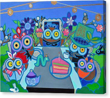 Mad Owls Tea Canvas Print by Jenny Valdez