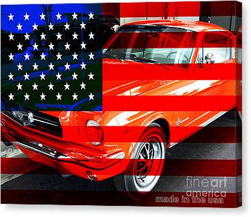 Made In The Usa . Ford Mustang Canvas Print by Wingsdomain Art and Photography