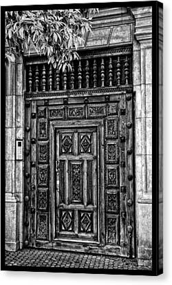 Canvas Print featuring the photograph Maderia Door In Black by Rick Bragan