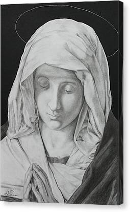 Madonna At Prayer Canvas Print by Miguel Rodriguez