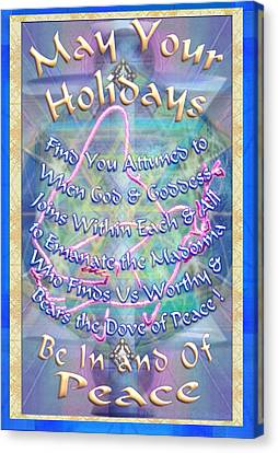 Madonna Dove And Chalice Vortex Over The World Holiday Art With Text Canvas Print by Christopher Pringer
