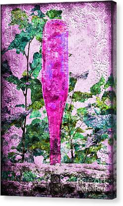 Magenta Bottle Triptych 3 Of 3 Canvas Print by Andee Design