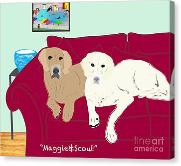 Maggie And Scout Canvas Print by Cheryl Snyder