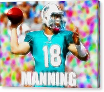 Magical Peyton Manning Miami Dolphins Canvas Print by Paul Van Scott
