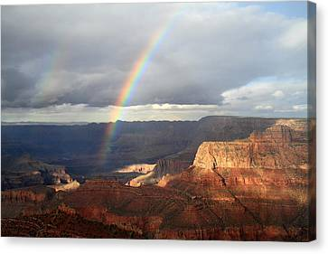 Magical Rainbow In The Grand Canyon Canvas Print by Pierre Leclerc Photography