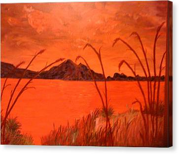 Canvas Print featuring the painting Magnetic Island Sunset by Judi Goodwin