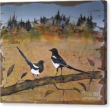 Magpies In The Last Of Autumns Leaves Canvas Print by Carolyn Doe