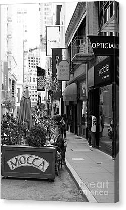 Maiden Lane San Francisco California - 5d19376 - Black And White Canvas Print by Wingsdomain Art and Photography