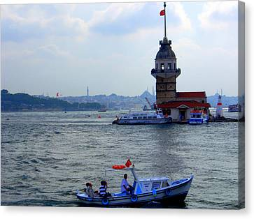 Canvas Print featuring the photograph Maidens Tower Istanbul by Lou Ann Bagnall