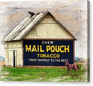 Canvas Print featuring the digital art Mail Pouch Barn by Mary Almond