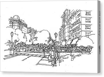 Canvas Print featuring the drawing Main Street by Andrew Drozdowicz