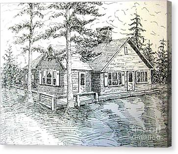 Canvas Print featuring the drawing Maine House by Gretchen Allen