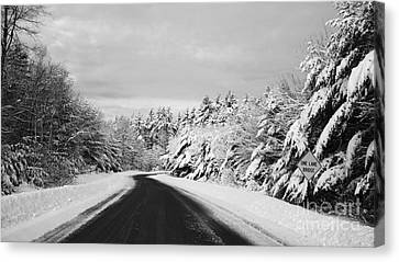 Maine Winter Backroad - One Lane Bridge Canvas Print by Christy Bruna