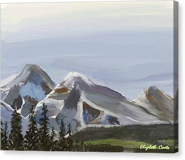 Canvas Print featuring the painting Majestic Mountains by Elizabeth Coats