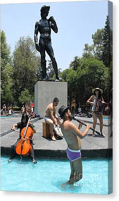 Making Music Anywhere Canvas Print by Rick Wolfryd