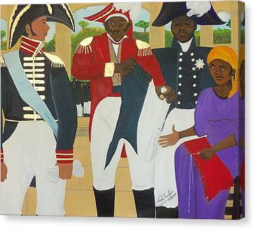 Making Of The Haitian Flag Canvas Print by Nicole Jean-Louis
