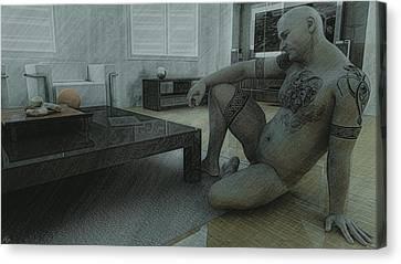 Male Nude Study Canvas Print by Maynard Ellis